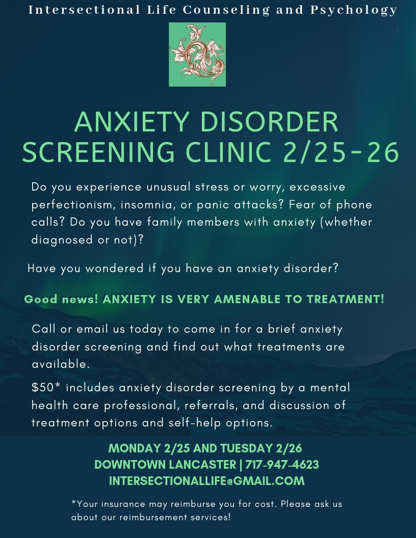 Anxiety Disorder Screening Clinic 2/25-2/26 ...